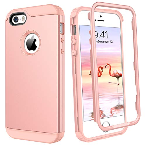 Protective Slip Anti Cover (iPhone SE Case iPhone 5S Case iPhone 5 Case GUAGUA Three Layer Full Body Protective Hybrid Hard PC Cover Soft Bumper Anti-Scratch Shockproof Anti-Slip Phone Cases for iPhone SE 5S 5 Rose Gold/Pink)
