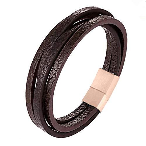 (Multi-Layers Handmade Braided Genuine Leather Bracelet & Bangle Stainless Steel Fashion Bangles)