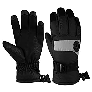 Kids Waterproof Ski Snowboard Gloves Thinsulate Lined Winter Cold Weather Gloves for boys and girls (Black, 10/12)