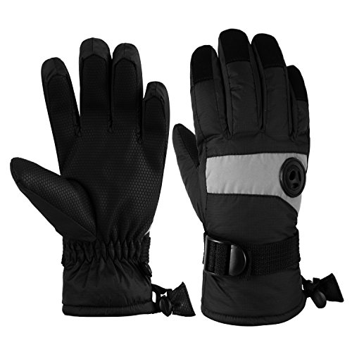 (HighLoong Kids Waterproof Ski Snowboard Gloves Thinsulate Lined Winter Cold Weather Gloves for Boys and Girls (Black, 13/15))