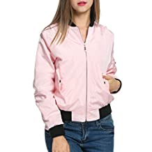 Zeagoo Women's Casual Zip-Up Solid Biker Jacket Short Slim Fit Bomber Jacket