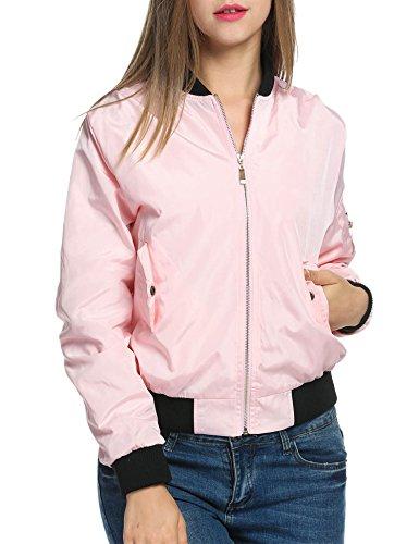 Zeagoo Women's Vintage Zip up Baseball Biker Bomber Slim Fit Jacket Coat,Pastel Pink,XL (Pink Ladies Jacket Plus Size)