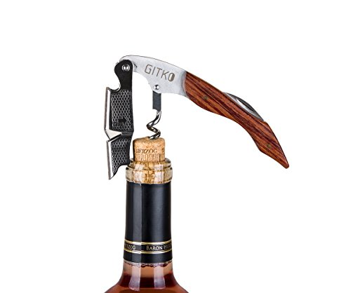 Waiters Corkscrew By Gitko -With a Comfortable Rosewood handle – Wine And Beer Bottle Opener For Bartenders, Waiters, –With A Stainless Steel Wine Key Foil Cutter - With a Nice Pouch Included, 3 Pack by GITKO (Image #5)