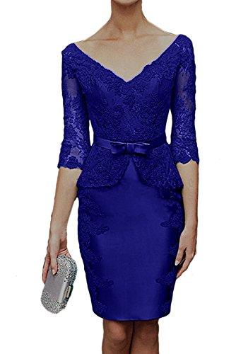 Abendkleid Aermeln Brautmutterkleider Mit Spitzenkleider Hochwertig V Royalblau Damen Ausschnitt Ivydressing 1xUXwqRCOw