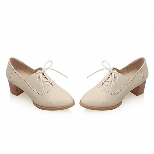 Show Shine Womens Fashion Chunky Heel Oxfords Shoes Beige DwIt1bYz
