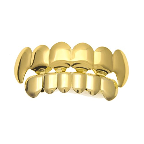 Golden Rapper Vampire Silver Fangs Tooth Top Bottom Teeth Grillz (Love Bite Vampire Costume)