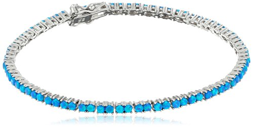Rhodium Plated Sterling Silver Created Blue Opal Bracelet, (Silver Created Opal Bracelet)