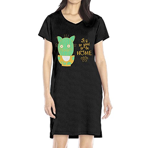 Hoeless Cat Cartoon Funny Cat Women's Short Sleeve Casual T-Shirt Dress (Cat Halloween Costumes Walmart)