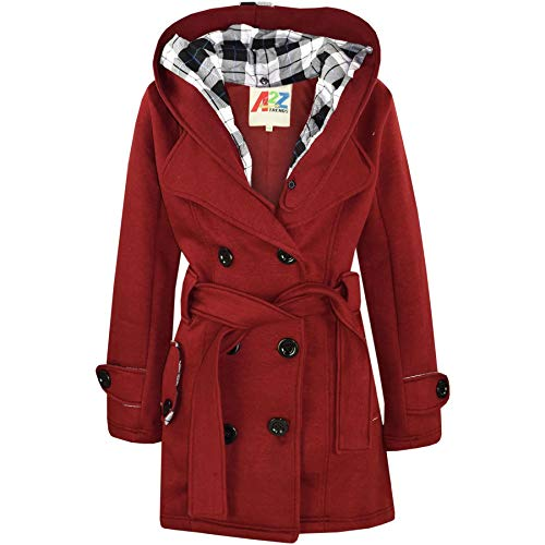 Kids Girls Overcoat Hooded Trench Coat Padded Oversized Lapels Long Parka Jacket Wine