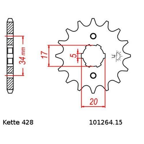 Kettensatz geeignet f/ür Honda CBR 125 R 04-10 Kette RK GS 428 HSB 124 offen GOLD 15//42