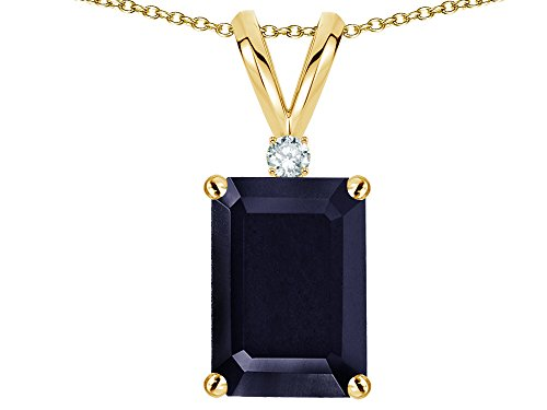 Star K Classic Octagon Emerald Cut 8x6mm Genuine Black Sapphire Pendant Necklace 14 kt Yellow (Emerald Cut Yellow Sapphire)