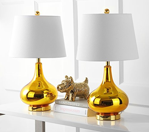 - Safavieh Lighting Collection Amy Gold Gourd 24-inch Table Lamp (Set of 2)
