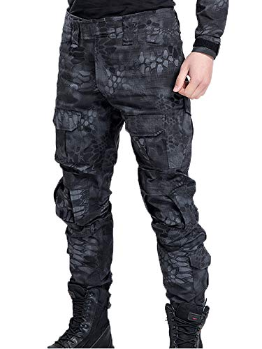 AKARMY Men's Military Tactical Casual Camouflage Multi-Pocket BDU Cargo Pants Trousers G3WF Black MW (Pants Cargo Camouflage Black)