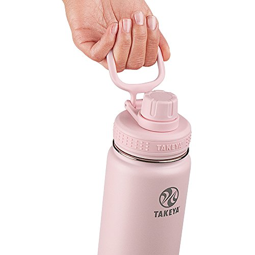 Takeya Actives Insulated Stainless Steel Water Bottle with Spout Lid, 24 oz, Blush