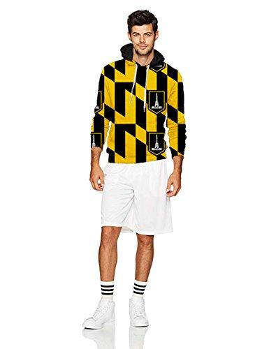Men's 3D Hoodie Unisex Baltimore Maryland USA Flag Printed Big Pockets Drawstring Hooded Sweatshirt ()