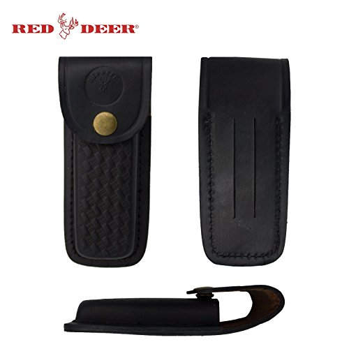 RED DEER Folding Pocket Knife Genuine Black Leather Pouch Case