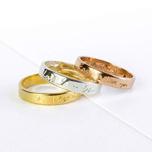 Custom Engraved Sterling Silver Ring with Actual Handwriting, Signature, Fingerprint or Text Message - Gold or Rose Gold Plated Sterling Silver -