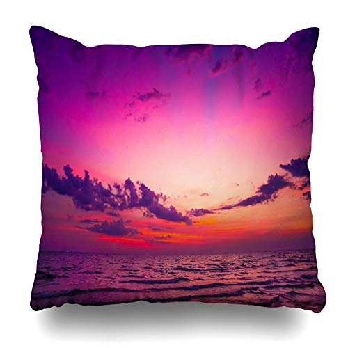 - Ahawoso Throw Pillow Covers Blue Beach Nature Twilight Period Sunrise Sunset Paradise Over Parks Orange Island Tropical Abstract Home Decor Zippered Pillowcase Square Size 18 x 18 Inches Cushion Case
