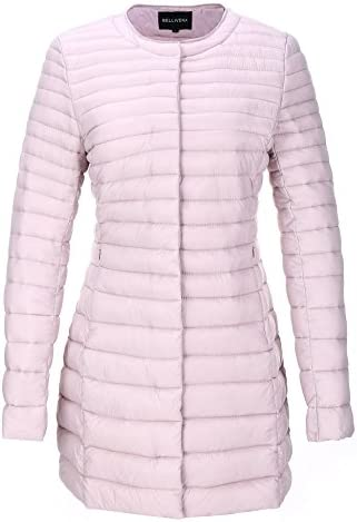 Bellivera Women's Quilted Lightweight Padding Jacket, Puffer Coat Cotton Filling with 2 Pockets