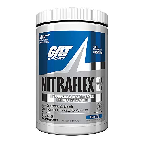 GAT - NITRAFLEX + C - Testosterone Boosting Powder with Creatine, Increases Blood Flow, Builds Muscle Mass, Boosts Strength and Energy, Improves Exercise Performance (Rocket Pop, 30 Servings)