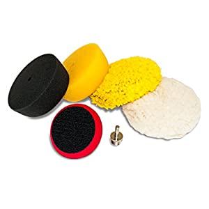 "AES Industries 76400 Premium 6pc 3"" Mini Buffing and Polishing Pad Detailing Kit with 1/4"" Drill Adapter"