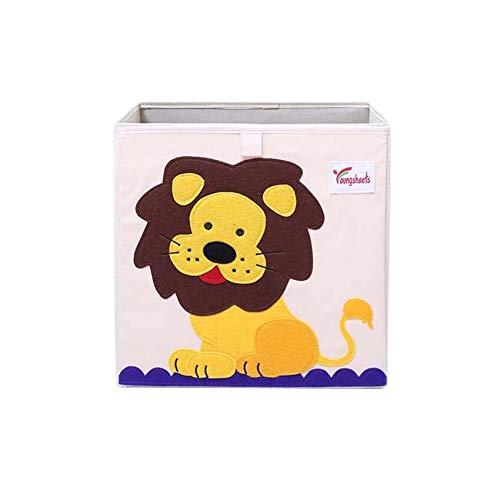 - Vmotor Foldable Animal Canvas Storage Toy Box/Bin/Cube/Chest/Basket/Organizer for Kids, 13 inch(Lion)