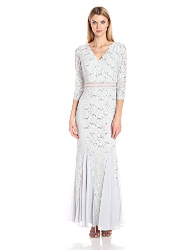 - Alex Evenings Women's Long V-Neck Lace Fit and Flare Dress, Platinum Frost, 16