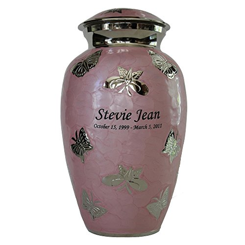 NWA Adult Pink Butterfly Funeral Cremation Urn with Personalization