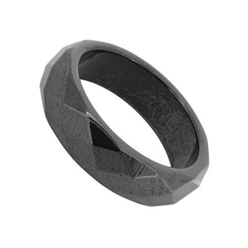 Faceted Magnetic Simulated Hematite Band Ring (12.5) (Hematite Promise Ring)