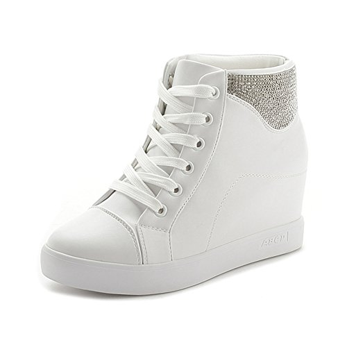 Btrada Womens High Top Hidden Wedge Fashion Sneakers Lace Up Platform Casual Sport Shoes White Plus Velvet