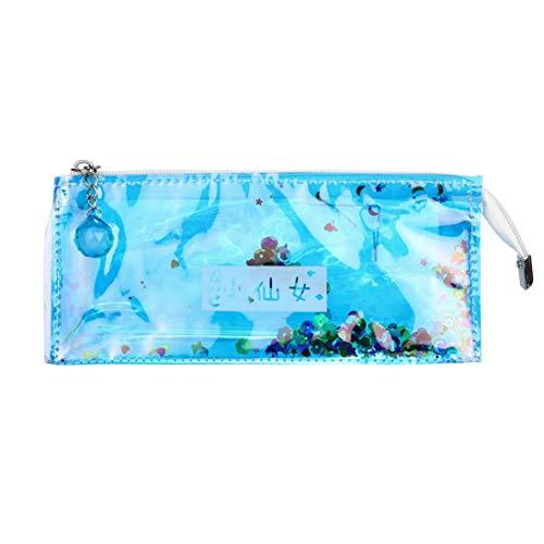 Reflection Transparent Quicksand PatternSchool Pencil Case Cosmetic Makeup Storage Bag (C) ()