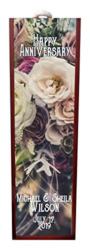 Jacks Outlet Happy Anniversary Vintage Style Roses Wine Box Personalized - Wine Box Rosewood with Slide Top - Wine Box Holder - Wine Case Decoration - Wine Case Wood - Wine Box Carrier ()