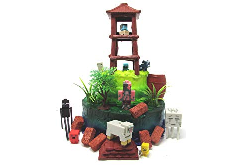 12 Piece MINECRAFT Themed Birthday Cake Topper Set Featuring Minecraft Characters and Decorative Themed Accessories for $<!--$26.99-->