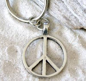Sign Love Hippie Keychain Key Tag (Peace Sign Key)