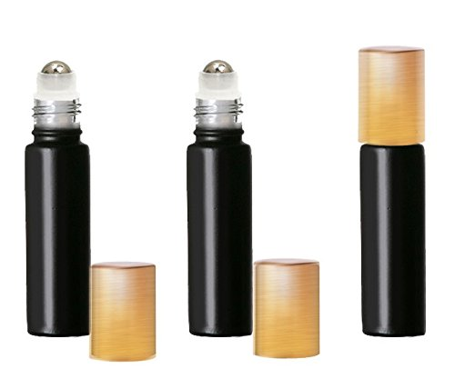 Grand Parfums Colored Glass Aromatherapy 10ml Rollon Bottles with Stainless Steel Roller and MATTE GOLD CAPS (12 Sets, Black) (Matte Roller Ball)