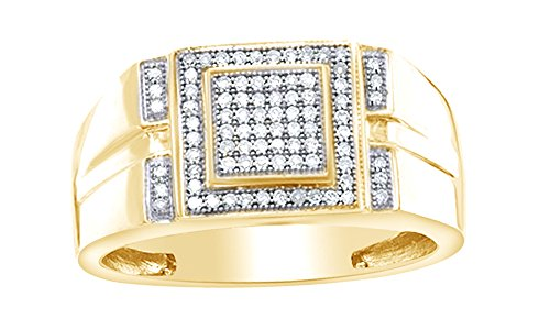 Jewel Zone US Men's 1/4 Ct White Natural Diamond Micro Cluster Square Stepped Ring in 10K Solid Yellow Gold Fathers Day Jewelry Gifts