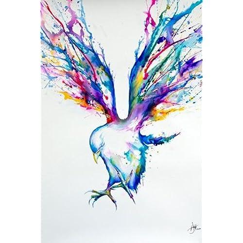 Marc Allante Achilles Bird Water Color Urban Grunge Modern Decorative Art Poster Print 24 By 36