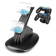Redlemon Cargador para Controles de Playstation 4 (PS4) con LEDs Indicadores de Carga y Base Soporte para 2 Controles [video game]