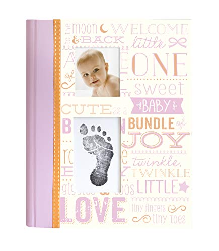 Little Blossoms by Pearhead Vintage Wordplay Baby Five Year Memory Book with an Included Clean-Touch Ink Pad to Create Baby's Handprint or Footprint, Pink ()