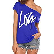 Dainzusyful Women Casual Off Shoulder Tops Short Sleeve T Shirts Letter Printed Loose Sexy Tank Tops Blouses