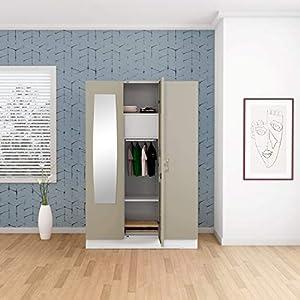 GODREJ INTERIO Slimline 3 Door Steel Almirah with Locker and Drawer, Mirror – Royal Ivory,Glossy Finish