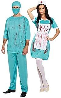 df74fda9202dc Bloody Zombie Surgeon & Nurse Couple Fancy Dress Halloween Adult Doctor  Costumes