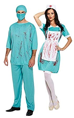 ac855d736cc25 Bloody Zombie Surgeon & Nurse Couple Fancy Dress Halloween Adult Doctor  Costumes