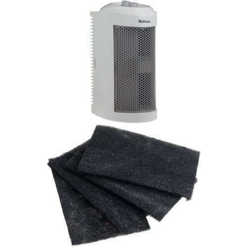 Holmes True HEPA Mini Tower Allergen Remover with 3-Speeds and Quiet Operation plus 4 pack of Carbon Filters (Quiet Operation)