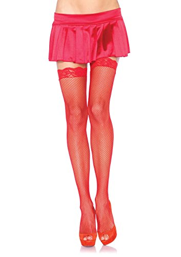 Leg Avenue Women's Fishnet Thigh High Stockings with Lace Top, Red, One Size