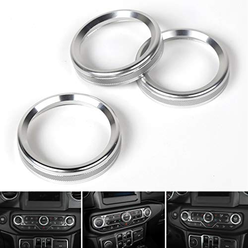 Artudatech 3PCS Aluminum AC Climate Control Ring Knob Covers For Jeep Wrangler JL 2018+ SIL ()