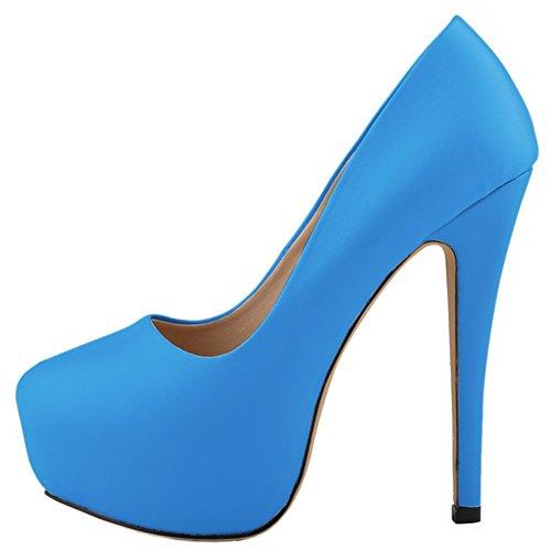 fereshte Pump Closed Heel Simple Women's Blue Stiletto Dress Matt Toe Platform Sexy rZrEzxU