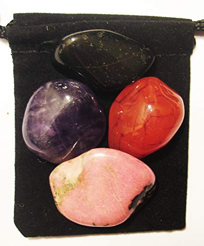 The Magic Is In You Cancer Fighter Tumbled Crystal Healing Set with Pouch & Description Card - Amethyst, Carnelian, Rhodonite, and Tourmaline