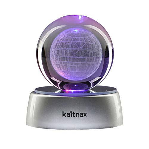 Kaitnax 3D Laser Etched Crystal Ball(50mm) Puzzle with LED Base (Death Star)