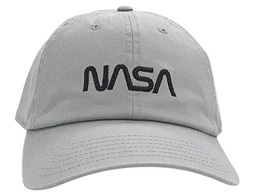 - Ripple Junction NASA Metallic Black Worm Logo Dad Hat OS Light Grey